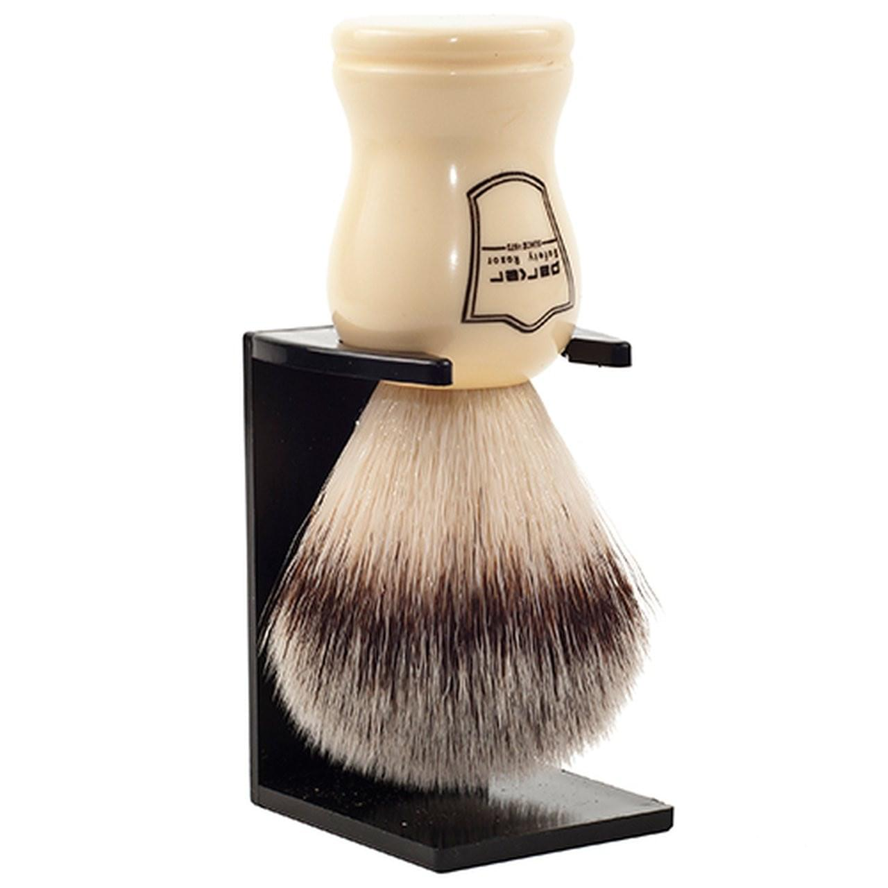 Parker White Handle Synthetic Shaving Brush and Stand - Shaving - Burton and Levy