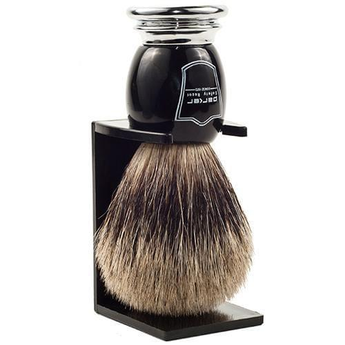 Parker Black & Chrome Handle Synthetic Shaving Brush and Stand - Shaving - Burton and Levy