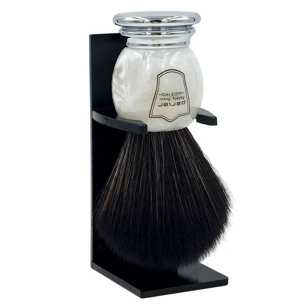 Parker Marbled Ivory Handle Black Synthetic Shaving Brush and Stand - Shaving - Burton and Levy