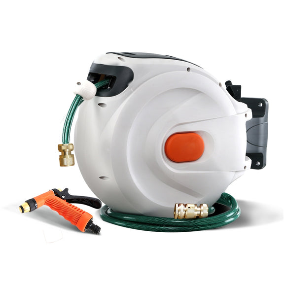 Greenfingers Retractable Hose Reel 30M Garden Water Brass Spray Gun Auto Rewind