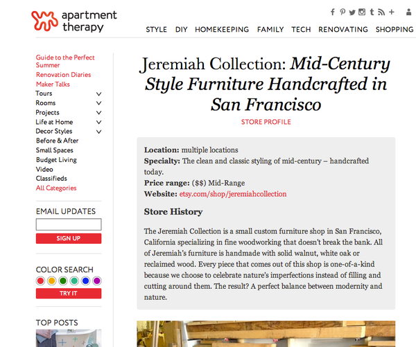 Jeremiah Collection in Apartment Therapy