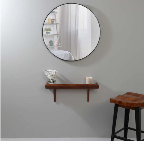 Round Mirror With Shelf for Bedroom
