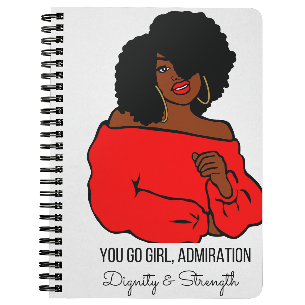 Admiration, Dignity & Strength Tee Notebook