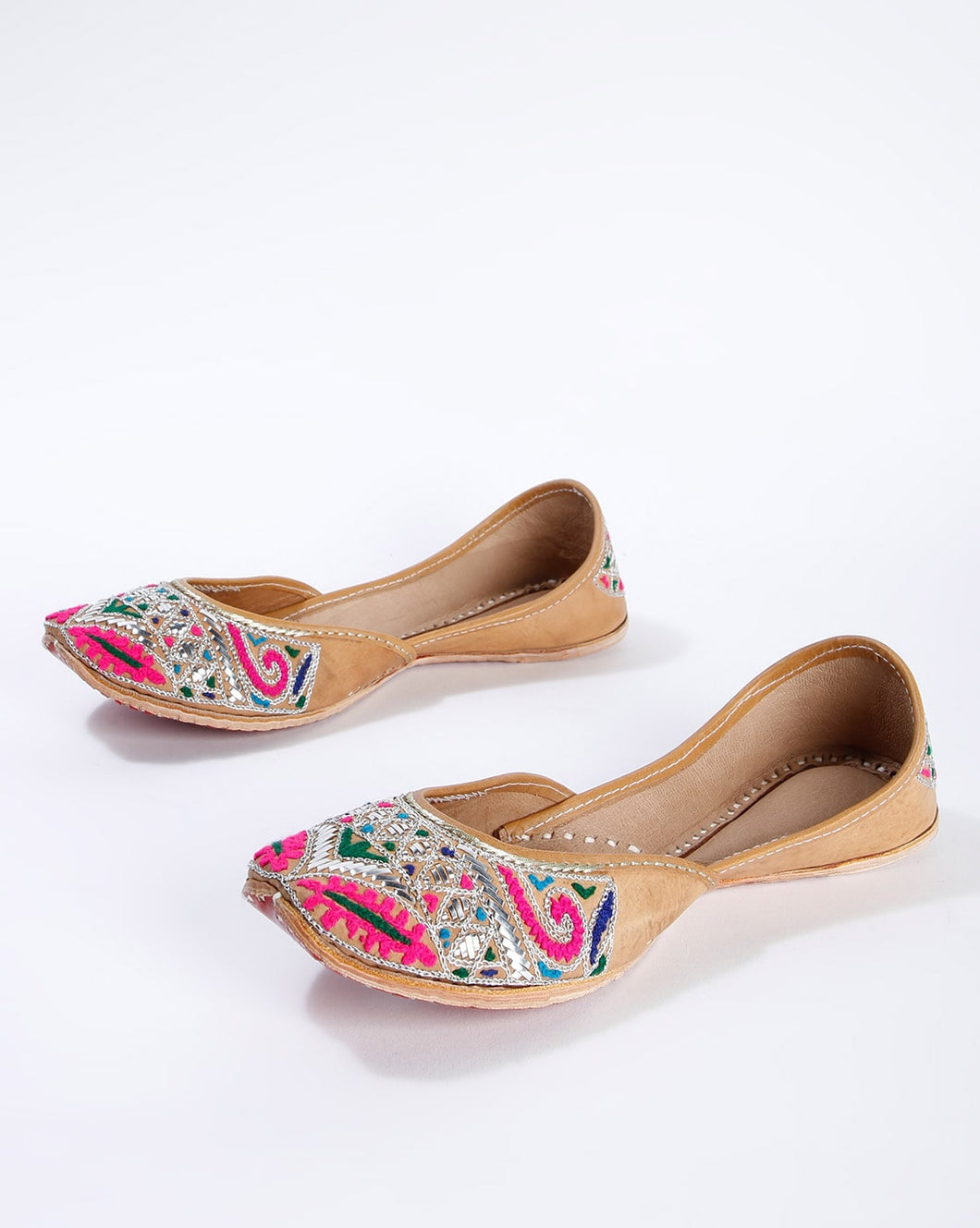 Multi-Shade, Pure Leather, Handcrafted & Embroidered Punjabi Jutti