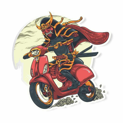 Evil Samurai on vespa Sticker | STICK IT UP