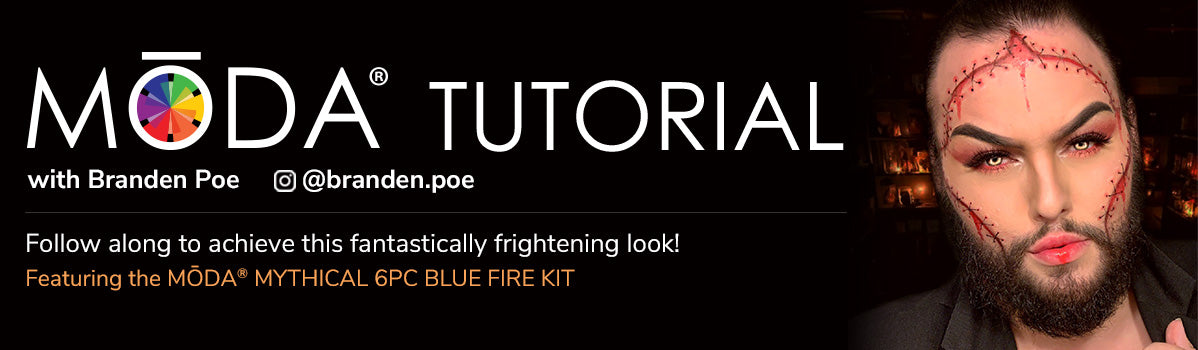 Follow along to achieve this fantastically frightening look! Featuring the MŌDA® Mythical 6PC Blue Fire Kit!