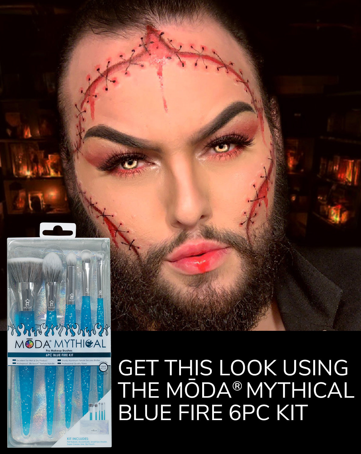 Get this look using the MŌDA® Mythical Blue Fire 6PC Kit!