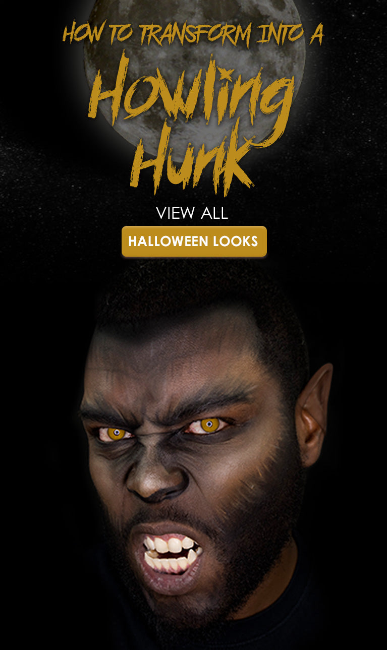 Use the MŌDA® PRO 7PC Total Face Flip Kit to transform into a howling hunk this Halloween!