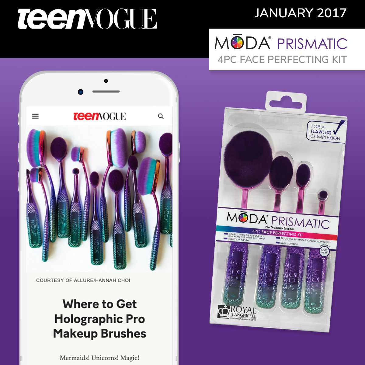 Teen Vogue Spotlight on our Moda Prismatic Face Perfecting Kit