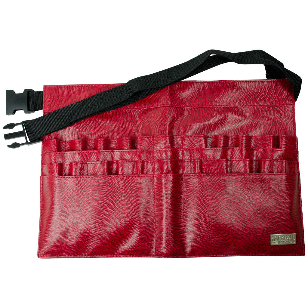 Red Leatherette 28-Compartment Brush Belt BBELT-10 - Red Leatherette 28-Compartment Brush Belt