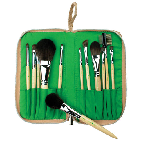 Makeup Brushes in Cork Zippered Travel Case