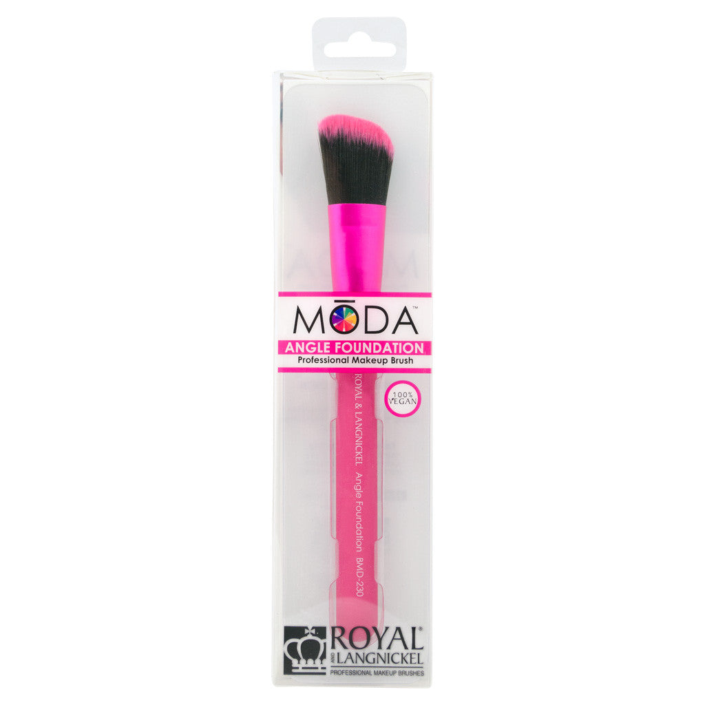 Retail package for the MODA Angle Foundation makeup brush