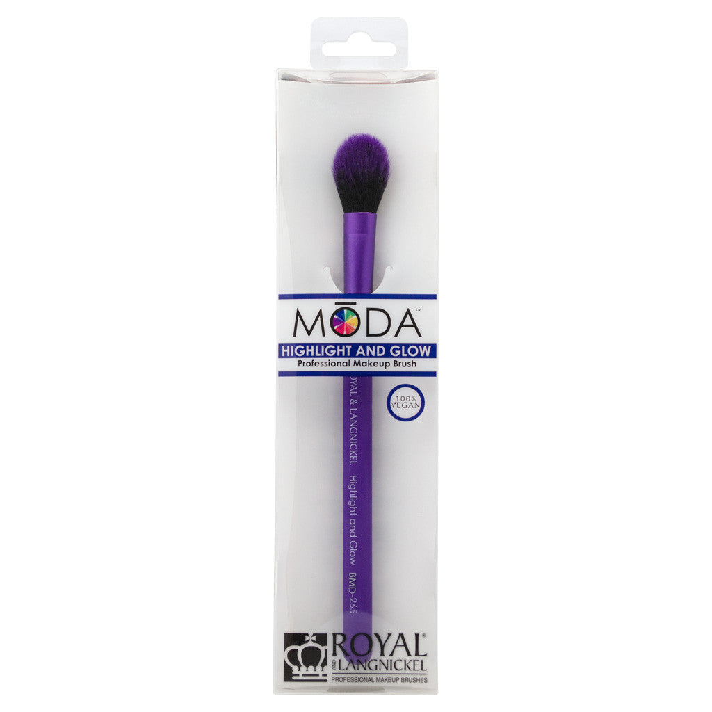 Retail package for the MODA Highlight and Glow makeup brush