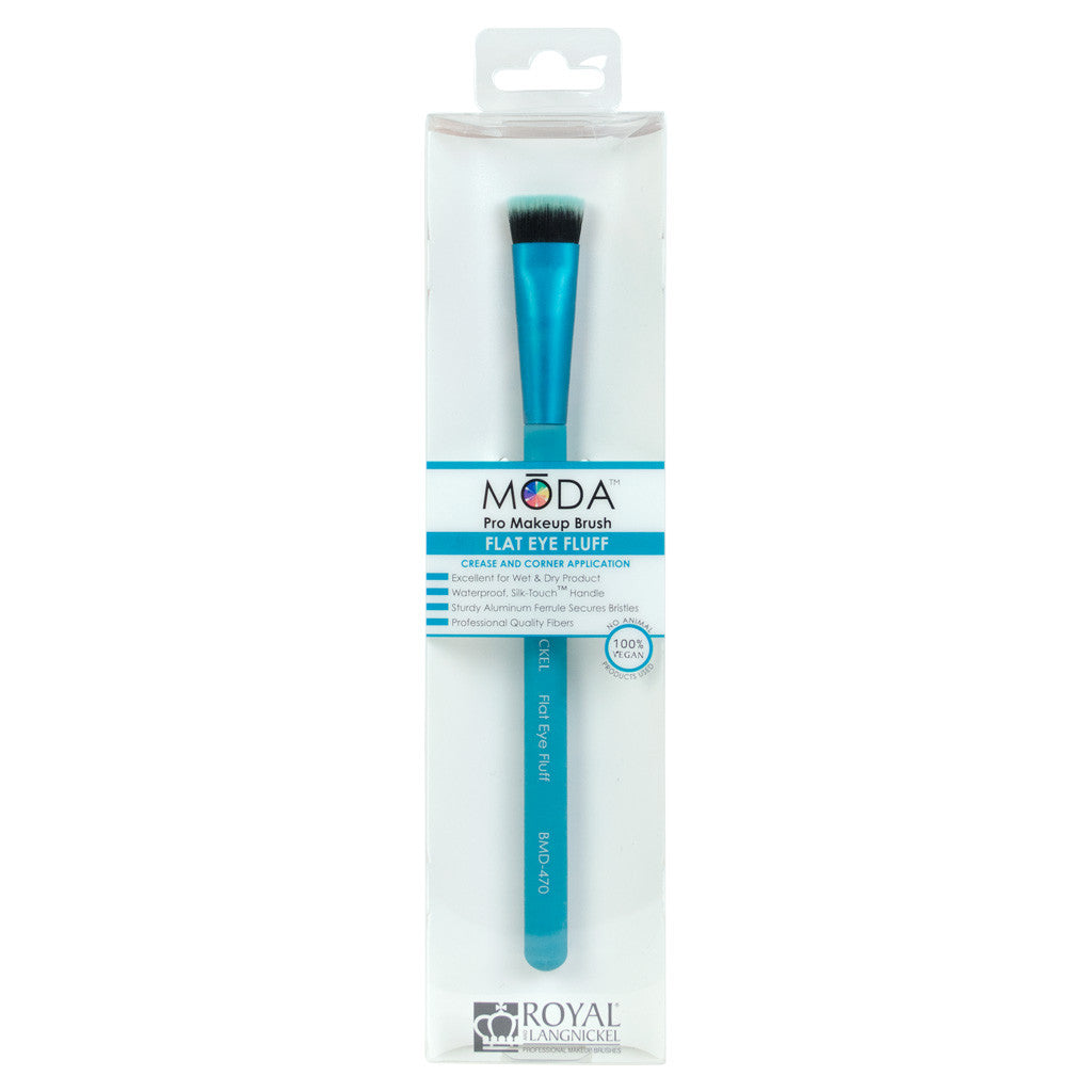 Retail package for the MODA Flat Eye Fluff makeup brush