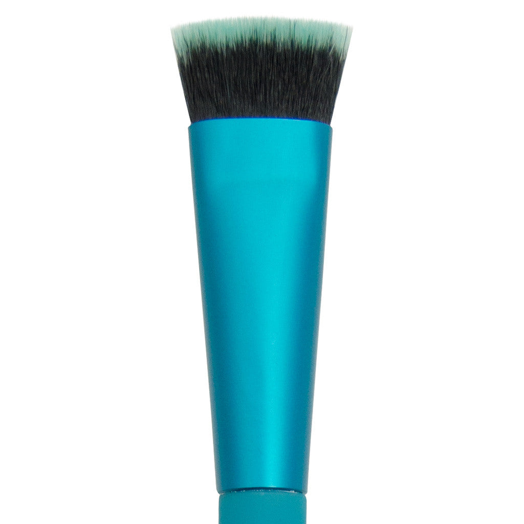 Close-up of hair and ferrule of MODA Flat Eye Fluff makeup brush