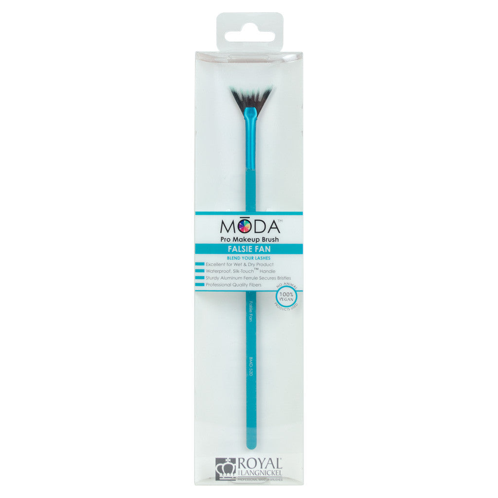 Retail package for the MODA Falsie Fan makeup brush