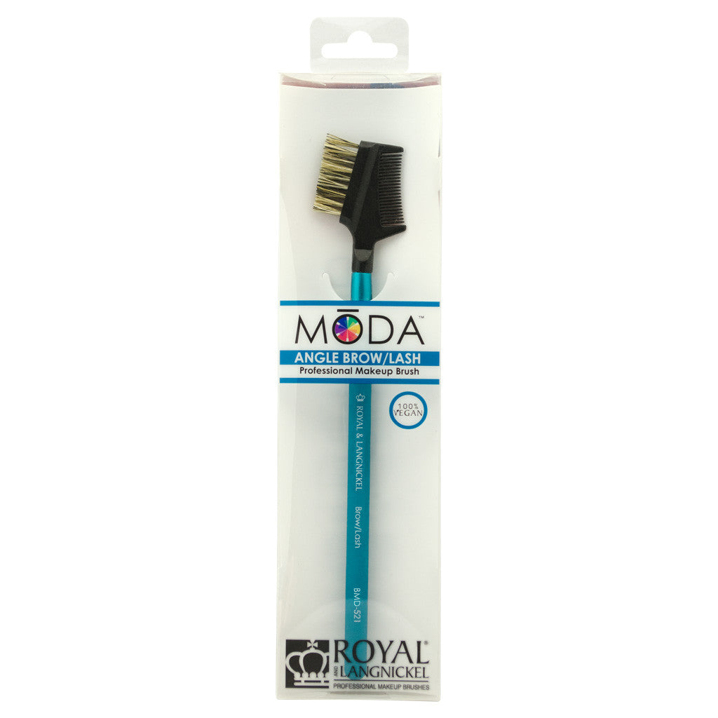 Retail package for the MODA Lash and Brow Groomer makeup brush