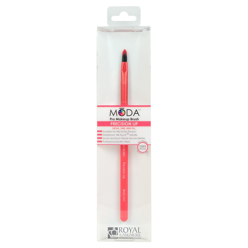 Retail package for the MODA Precision Lip makeup brush