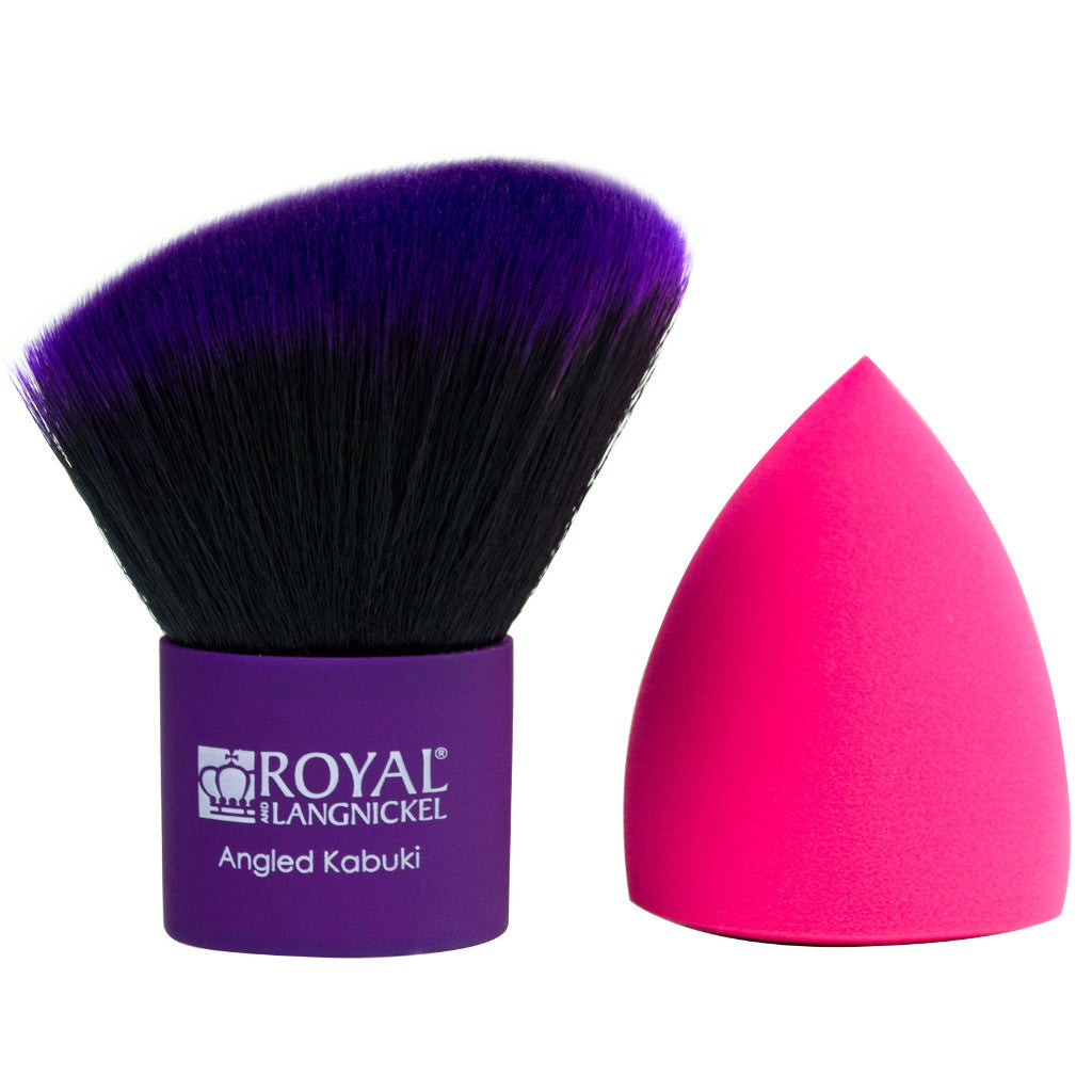 MŌDA® Angled Kabuki & Magic Sponge BMD-701 - MODA® Angled Kabuki Makeup Brush & Magic Sponge