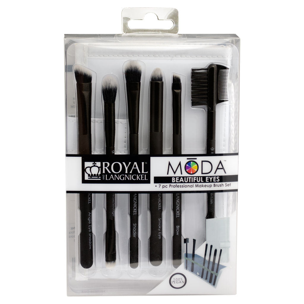 BMD-BESET7BK - MŌDA® BEAUTIFUL EYES 7pc Black Brush Kit Retail Packaging