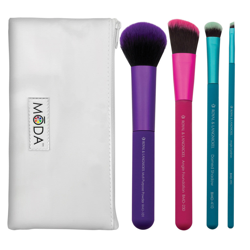 MŌDA® 5pc Complete Kit BMD-CK4 - MŌDA® 5pc Complete Kit Makeup Brushes with white MŌDA® Zip Pouch