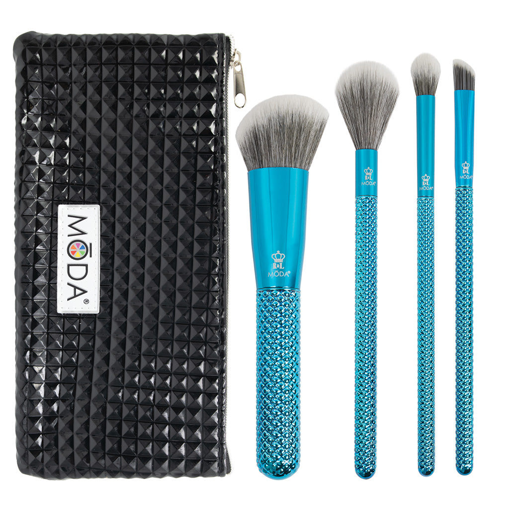 MŌDA® Metallics 5pc Defining Detailers Kit Makeup Brushes with Black Studded Zip Pouch
