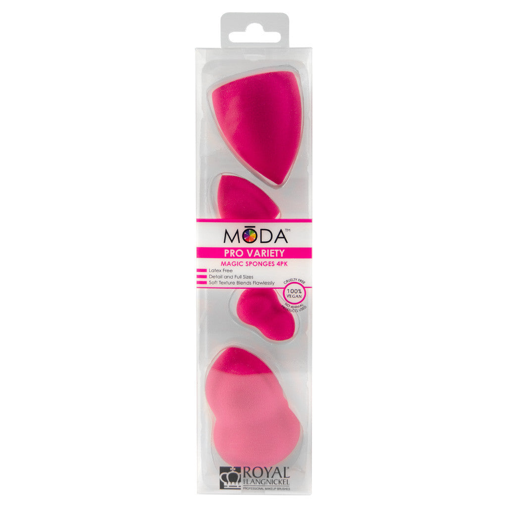 Retail package for MODA™ Pro Variety Magic Sponges 4 Pack