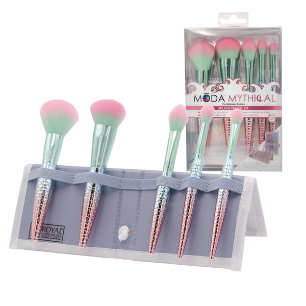 MŌDA® Mythical 6pc Splash Travel Kit BMD-MSPSET6T - MODA® Mythical 6pc Splash Travel Kit Makeup Brushes in Flip Case and Retail Packaging