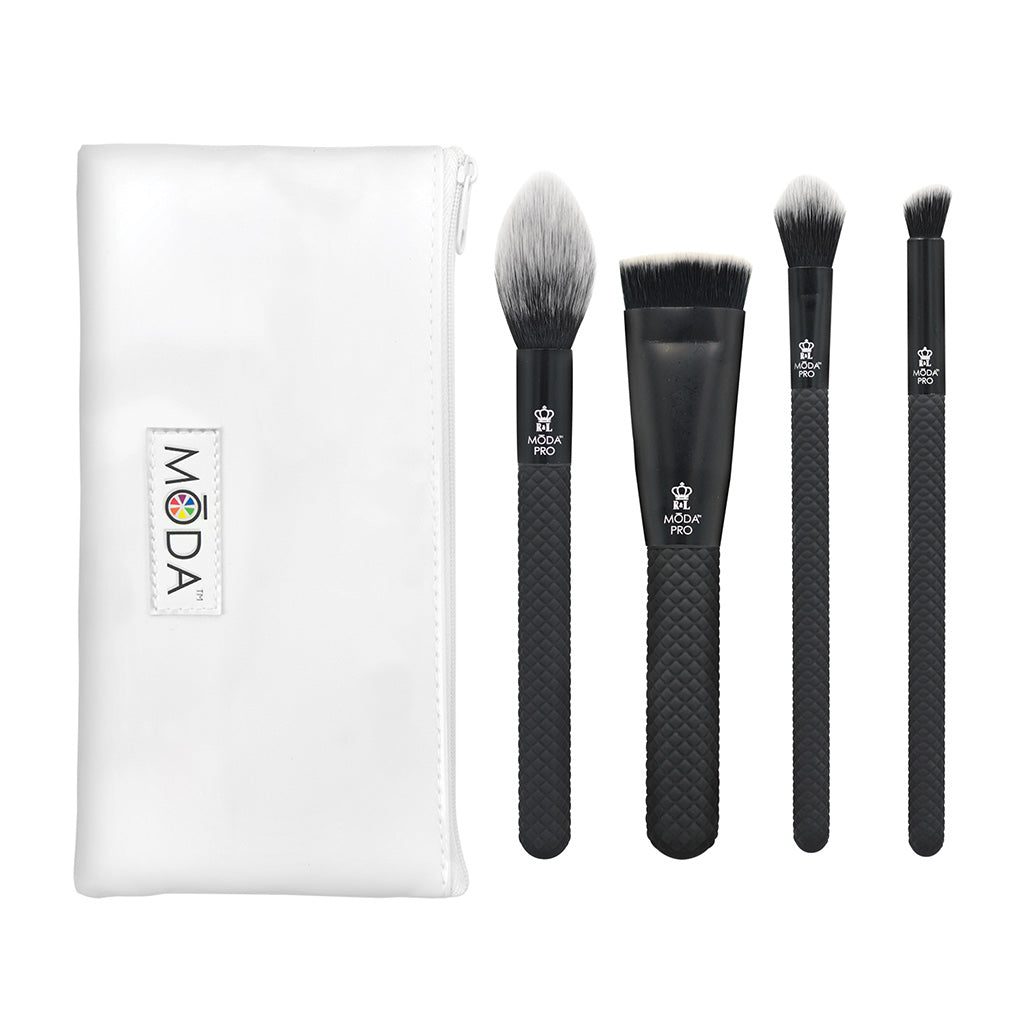 MŌDA® Pro 5pc Sculpt & Glow Kit BMX-SGK5 - MODA® Pro 5pc Sculpt & Glow Kit Makeup Brushes with Zip Case