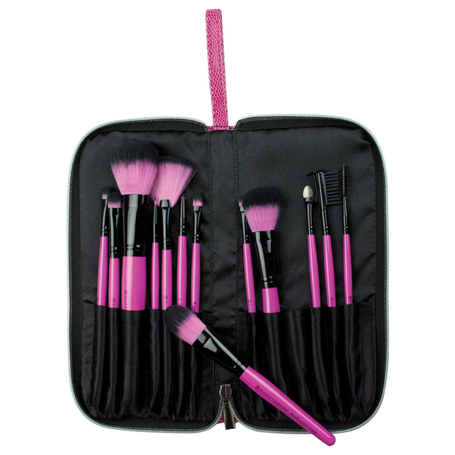 Pink Essentials™ Synthetic 13-piece Travel Kit with brushes in travel case