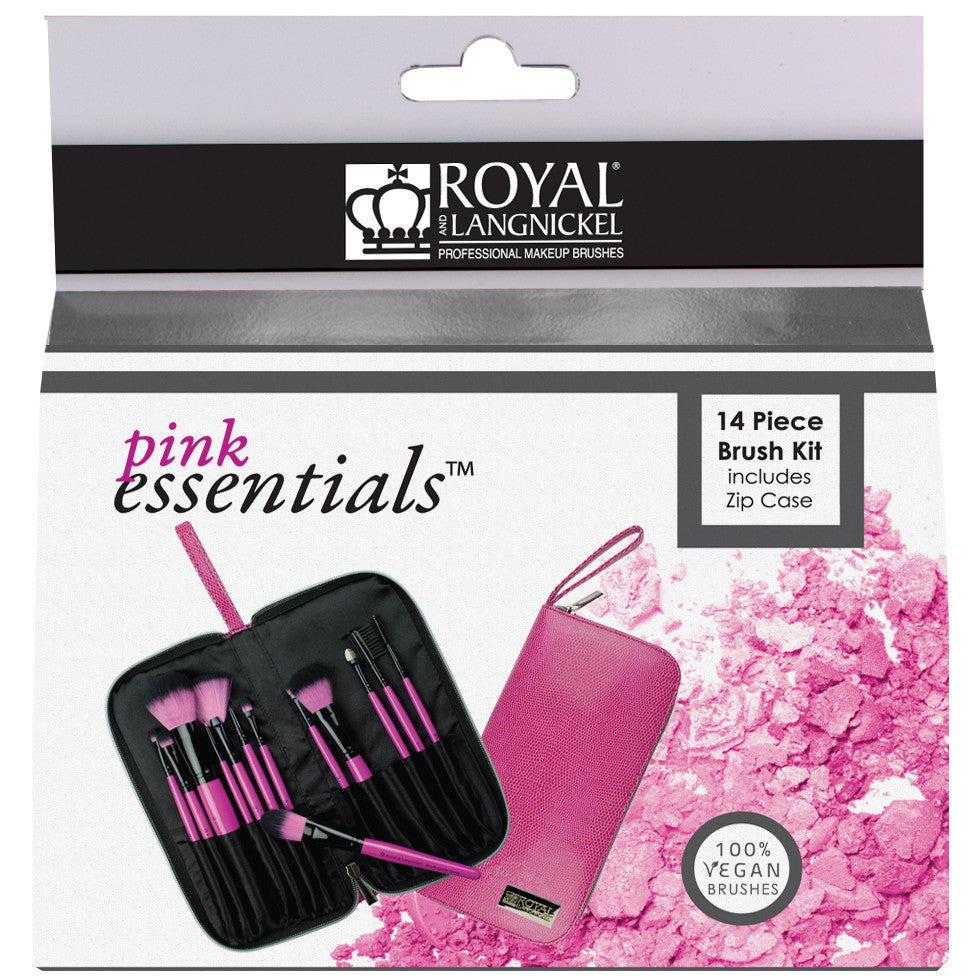 Pink Essentials™ Synthetic 13-piece Travel Kit retail packaging