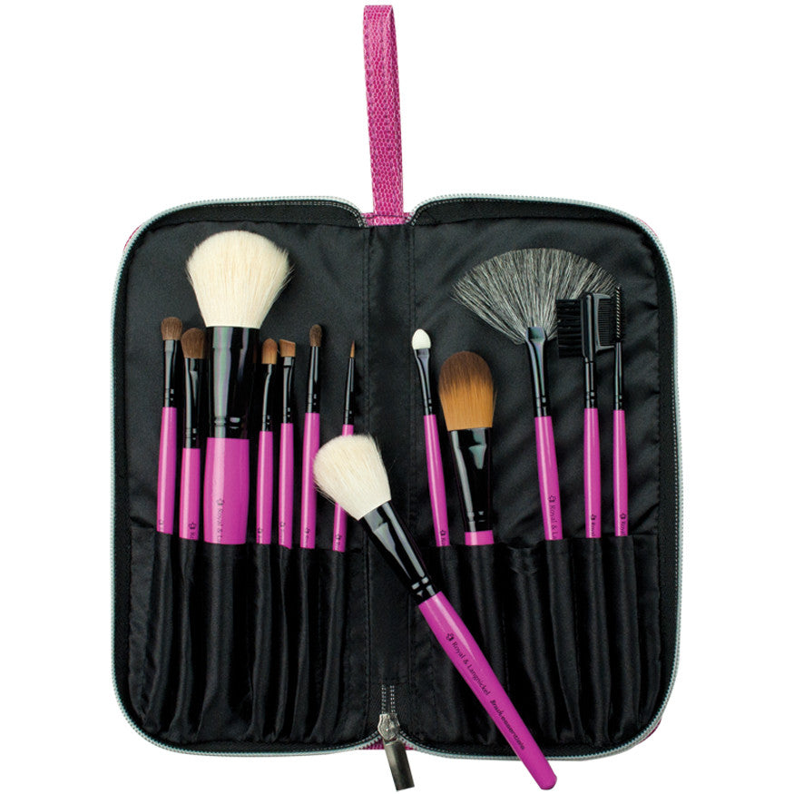 Pink Essentials™ Natural 13-piece Travel Kit with brushes in travel case