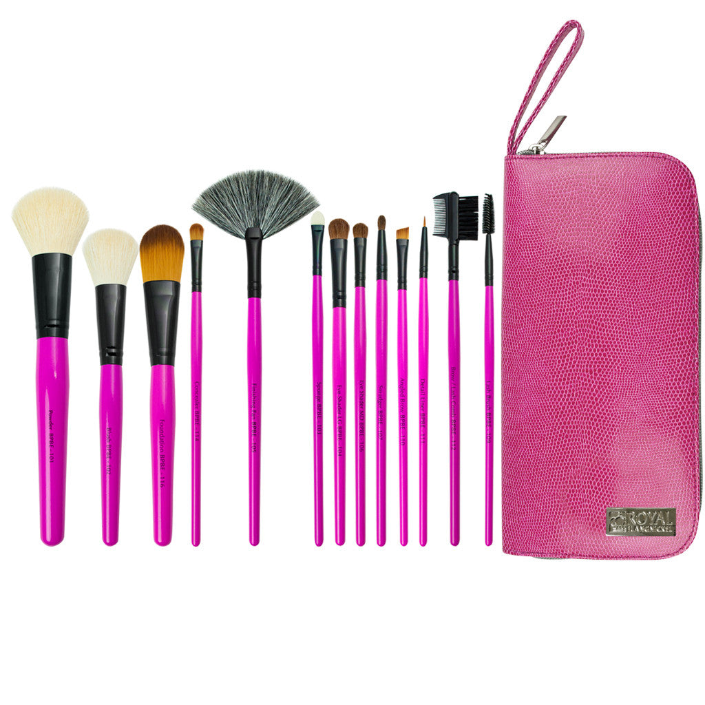 Pink Essentials™ Natural 14pc Travel Kit Makeup Brushes and Zippered Travel Case