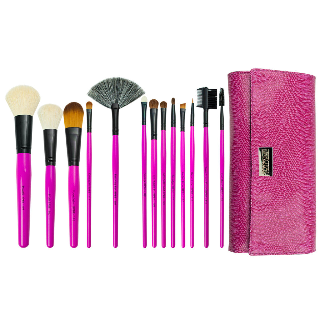 Pink Essentials™ Natural 14pc Wrap Kit Makeup Brushes and Zippered Travel Case