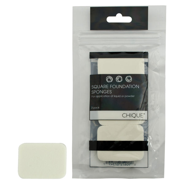 Chique™ 3pc Square Foundation Sponges front of individual sponge and Retail Packaging