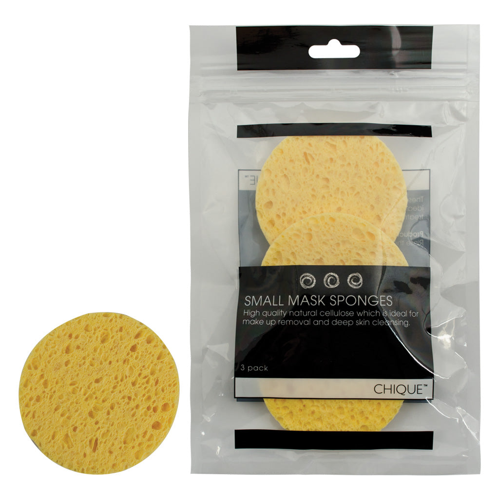 Chique™ 3pc Small Mask Sponges front of individual sponge and Retail Packaging