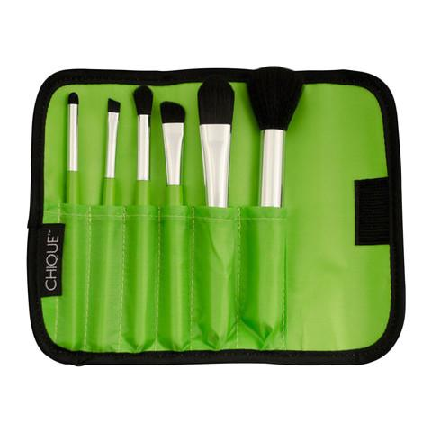 BQU-MINSET-GN - Chique™ 7pc Lime Mineral Brush Set