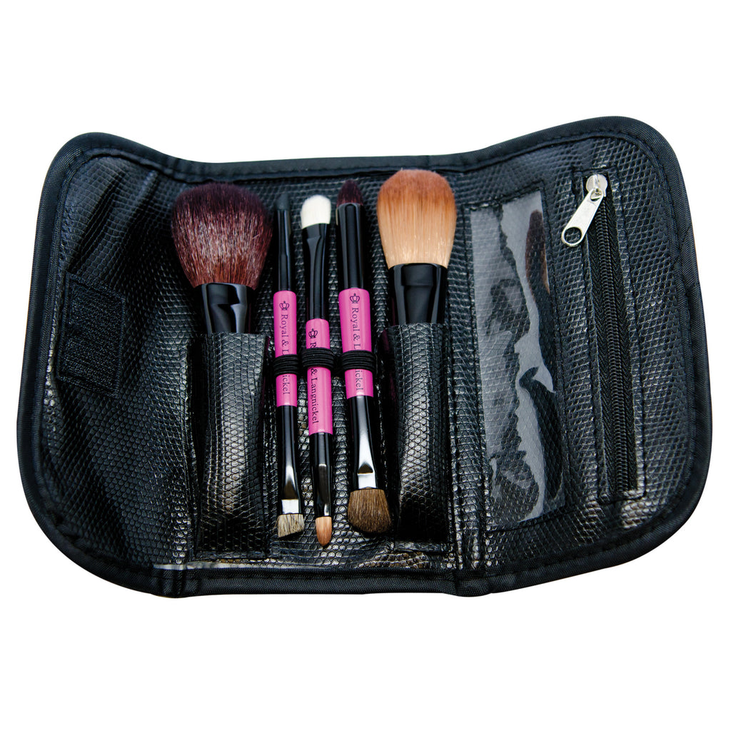 Brush Essentials™ Pink 5-piece Travel Kit with brushes in wrap