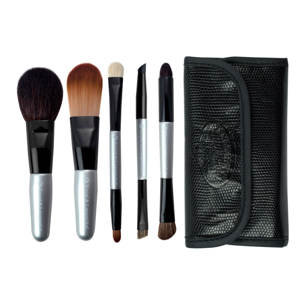 Brush Essentials™ Silver 6pc Travel Kit Makeup Brushes and Travel Case