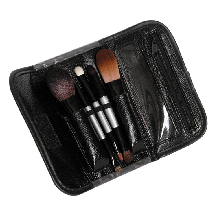 Brush Essentials™ Silver 5-piece Travel Kit with brushes in wrap