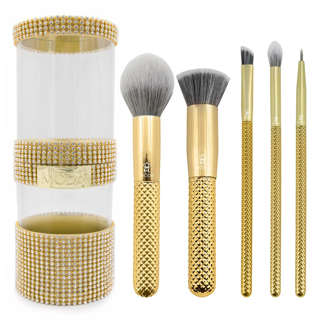 MŌDA® Metallics 6pc Gold Full Face Kit Makeup Brushes and Gold Gem Brush Container