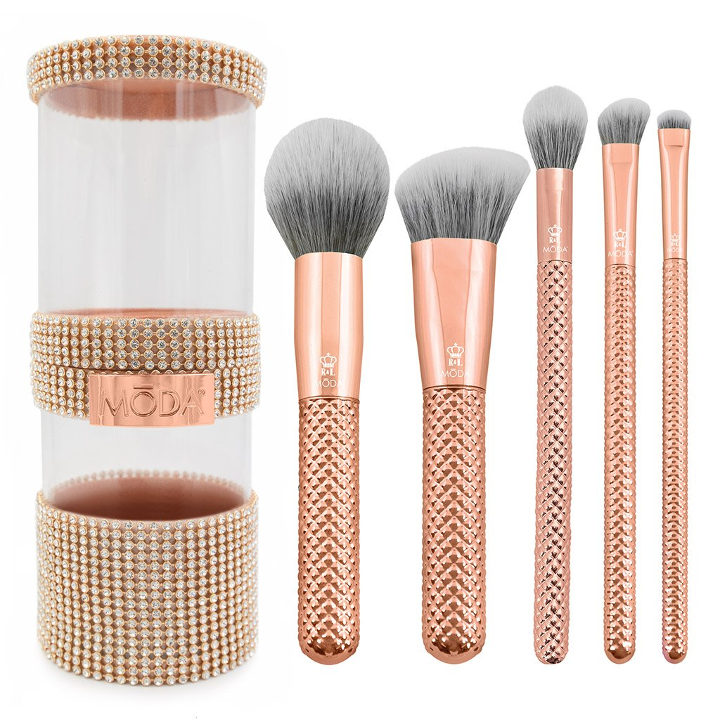 MŌDA® Metallics 6pc Rose Gold Full Face Kit Makeup Brushes and Rose Gold Gem Container