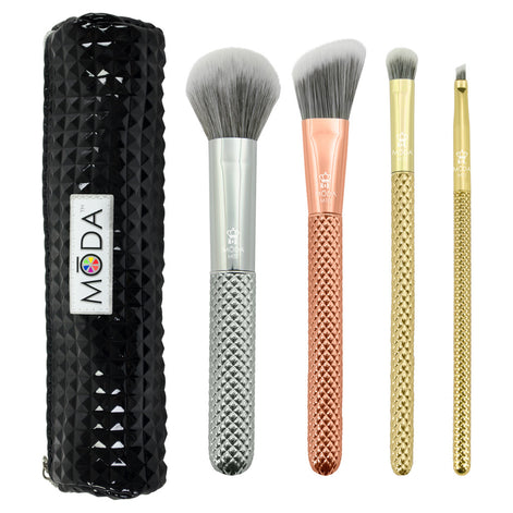 MODA® Metallics 5pc Complete Kit MSET-CK4 Makeup Brushes and Studded Zip Pouch