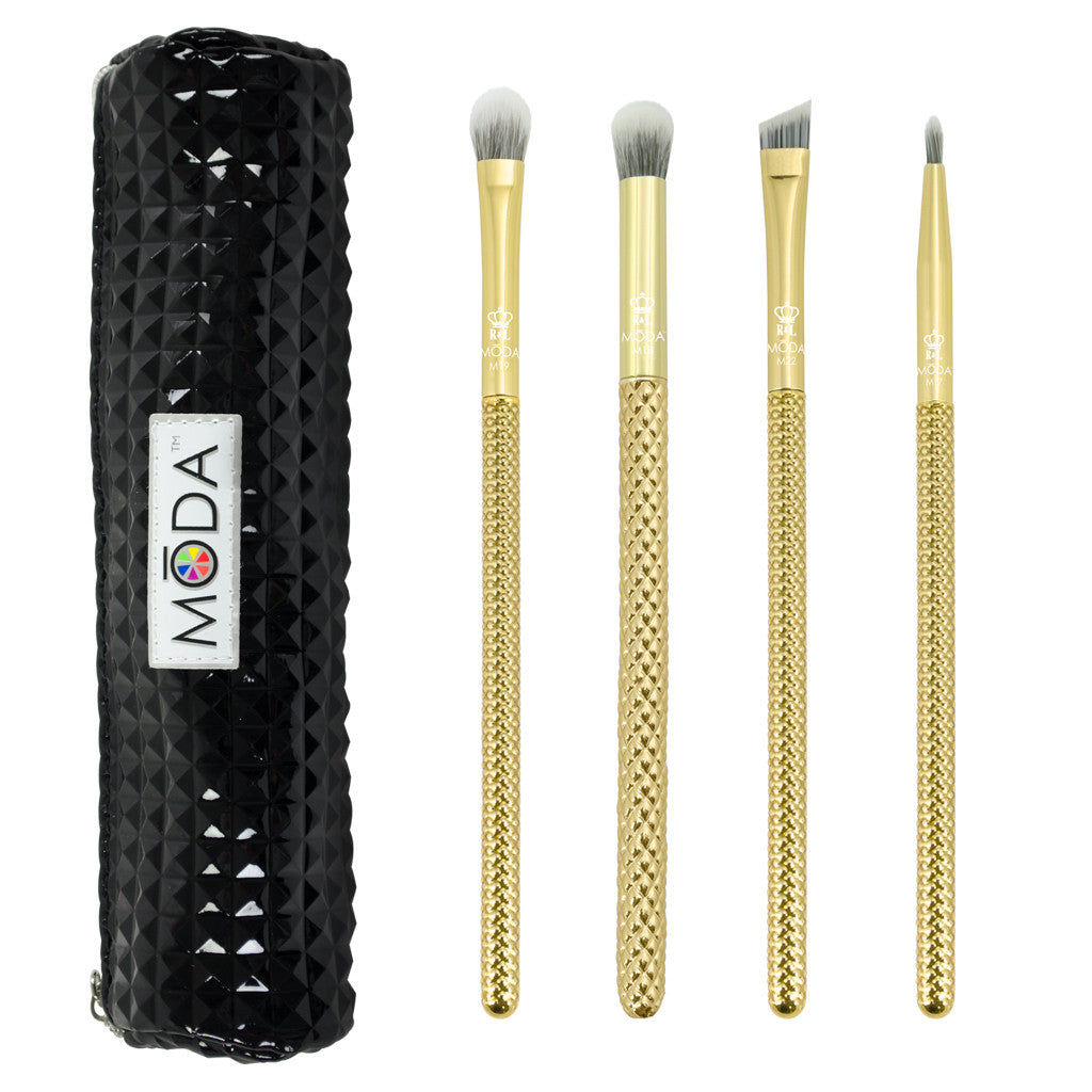 MŌDA® Metallics 5pc Bold Eye Kit MSET-EK4 - MODA® Metallics 5pc Bold Eye Kit Makeup Brushes and Studded Zip Pouch