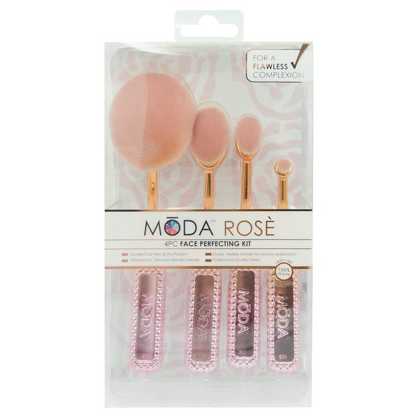 MSET-FPK3 - MODA® Rosè Face Perfecting Kit Makeup Brushes Side Profile