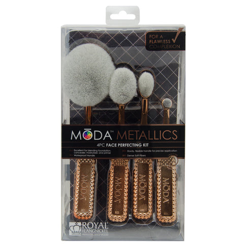 MSET-FPK2 - MODA® Metallics 4pc Face Perfecting Kit Retail Packaging
