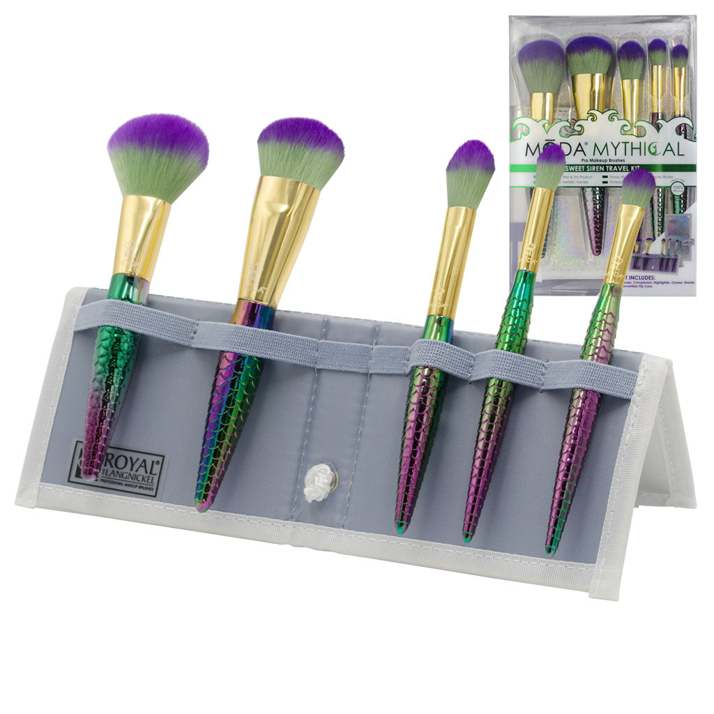 MŌDA® Mythical 6pc Sweet Siren Travel Kit BMD-MSWSET6T - MODA® Mythical 6pc Sweet Siren Travel Kit Makeup Brushes in Flip Case and Retail Packaging