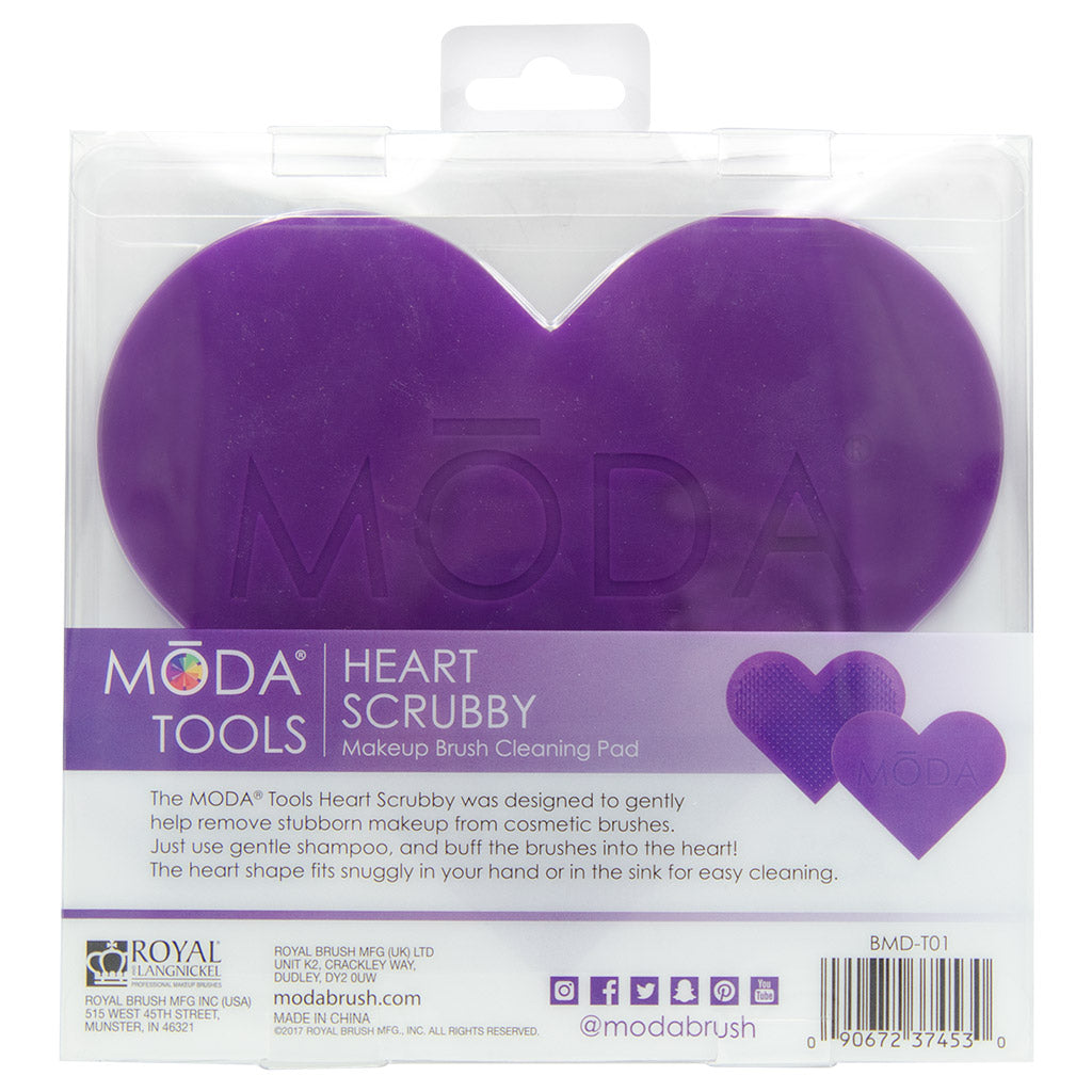 BMD-T01 - MODA® Heart Scrubby Makeup Brush Cleaning Pad Retail Packaging Back