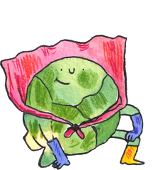 brussel sprout dressed as a superhero in a cape, gloves and boots. Wonky fruit & vegetable delivery.