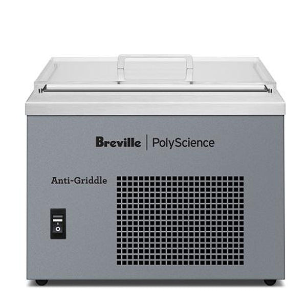Breville PolyScience Anti-Griddle® Flash Freeze: A light grey box with a black vent on the front and a thin pane of glass on top.